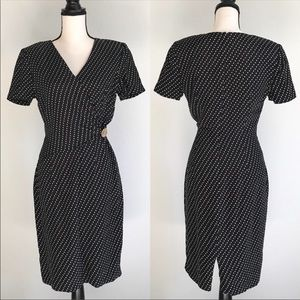 MAGGY LONDON Vintage Navy Faux Wrap Dress Small